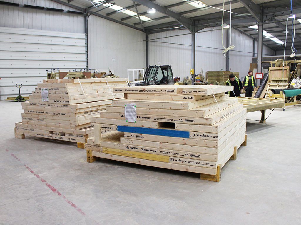Stacked modular panels ready for delivery