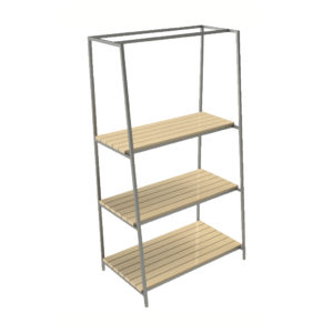Metal frame perimeter shelving unit