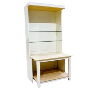 MELAMINE WALL UNIT (WITH FIXED TABLE AND ADJUSTABLE GLASS SHELVING)